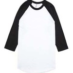 American Apparel Unisex Poly-Cotton 3/4-Sleeve Raglan T-Shirt